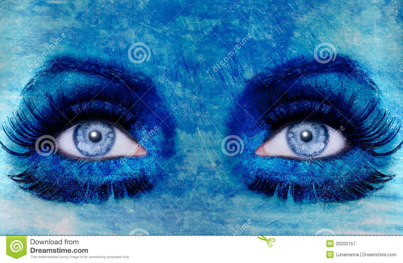 Abstract Blue Eyes Makeup Woman Grunge Texture Stock Image