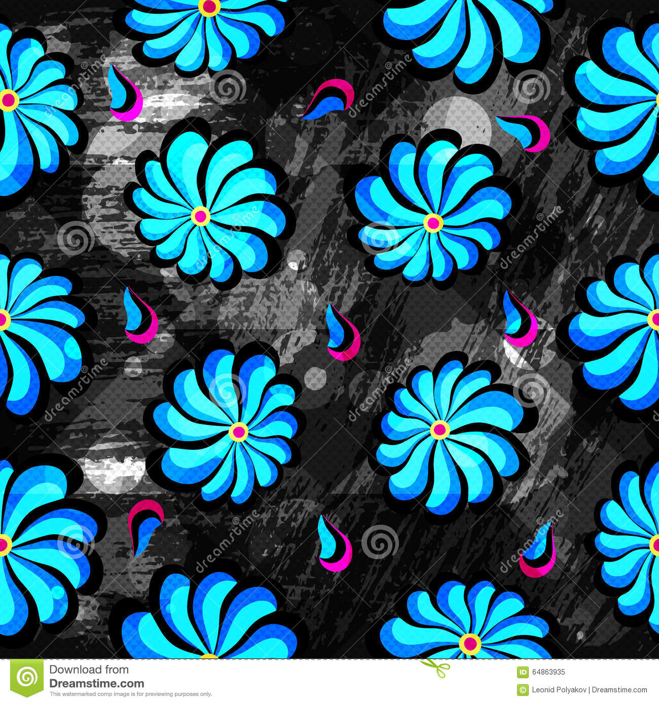 Fabric texture endless pattern black and blue stock photo image abstract blue flowers on a black background seamless pattern grunge texture royalty free stock photo dhlflorist Images