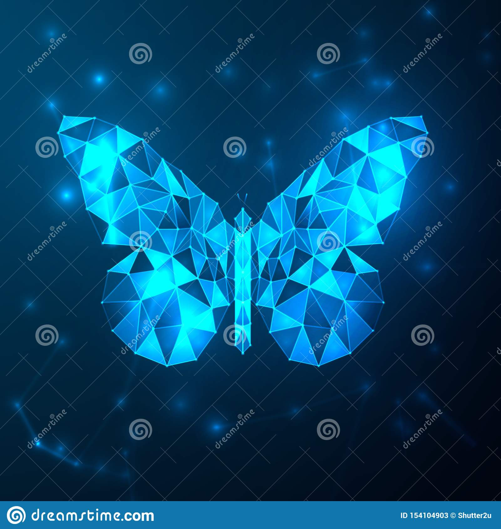 Abstract Blue Futuristic Butterfly Low Polygon Technology With