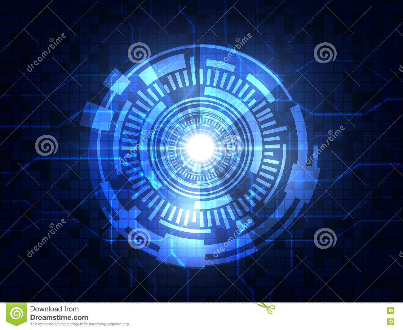 Abstract blue futuristic digital technology background. Vector illustration