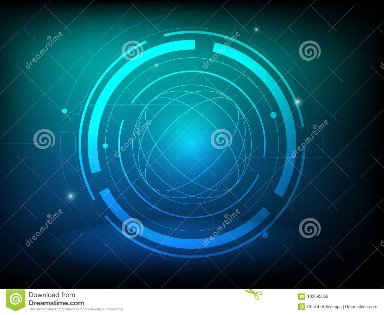Abstract blue green circle digital technology background, futuristic structure elements concept background