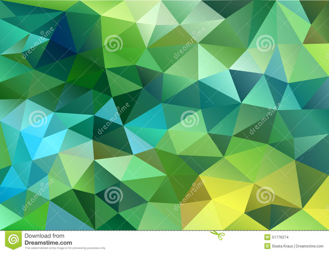 Abstract Blue And Green Low Poly Background Vector Stock