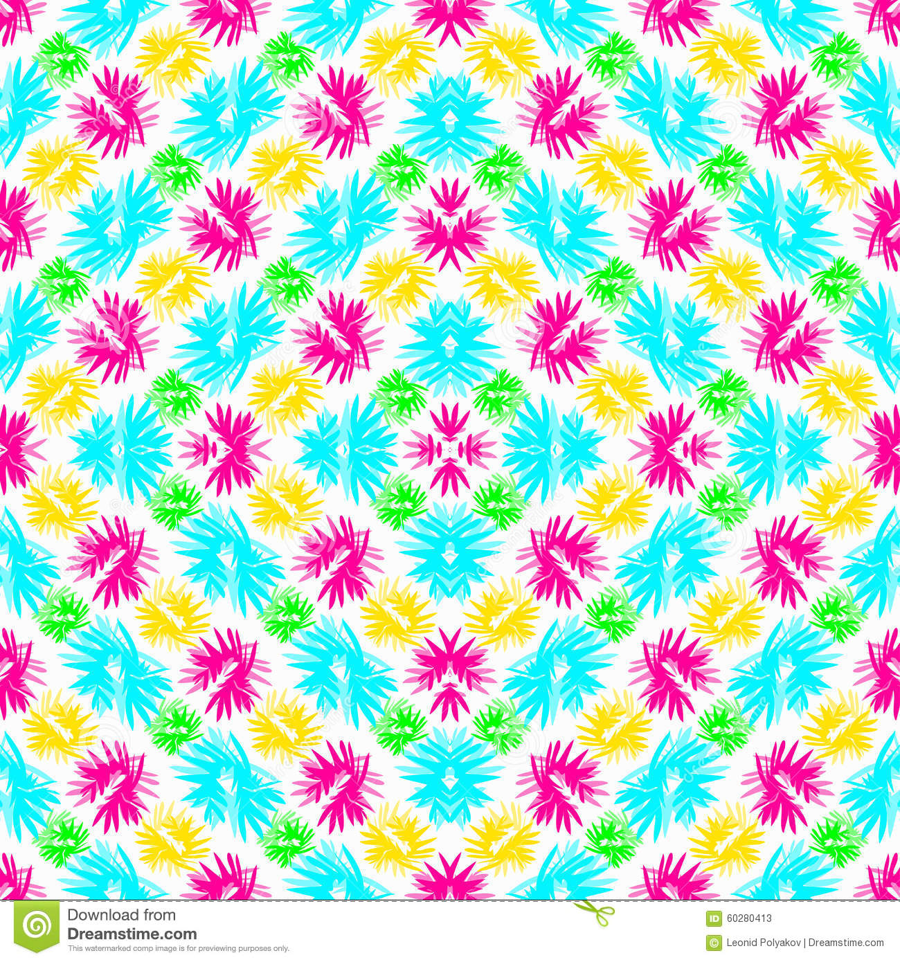 abstract blue green pink and yellow flowers on a white