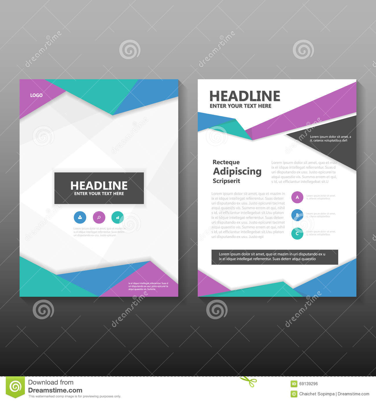 Abstract Blue Green Purple Vector Annual Report Leaflet Brochure