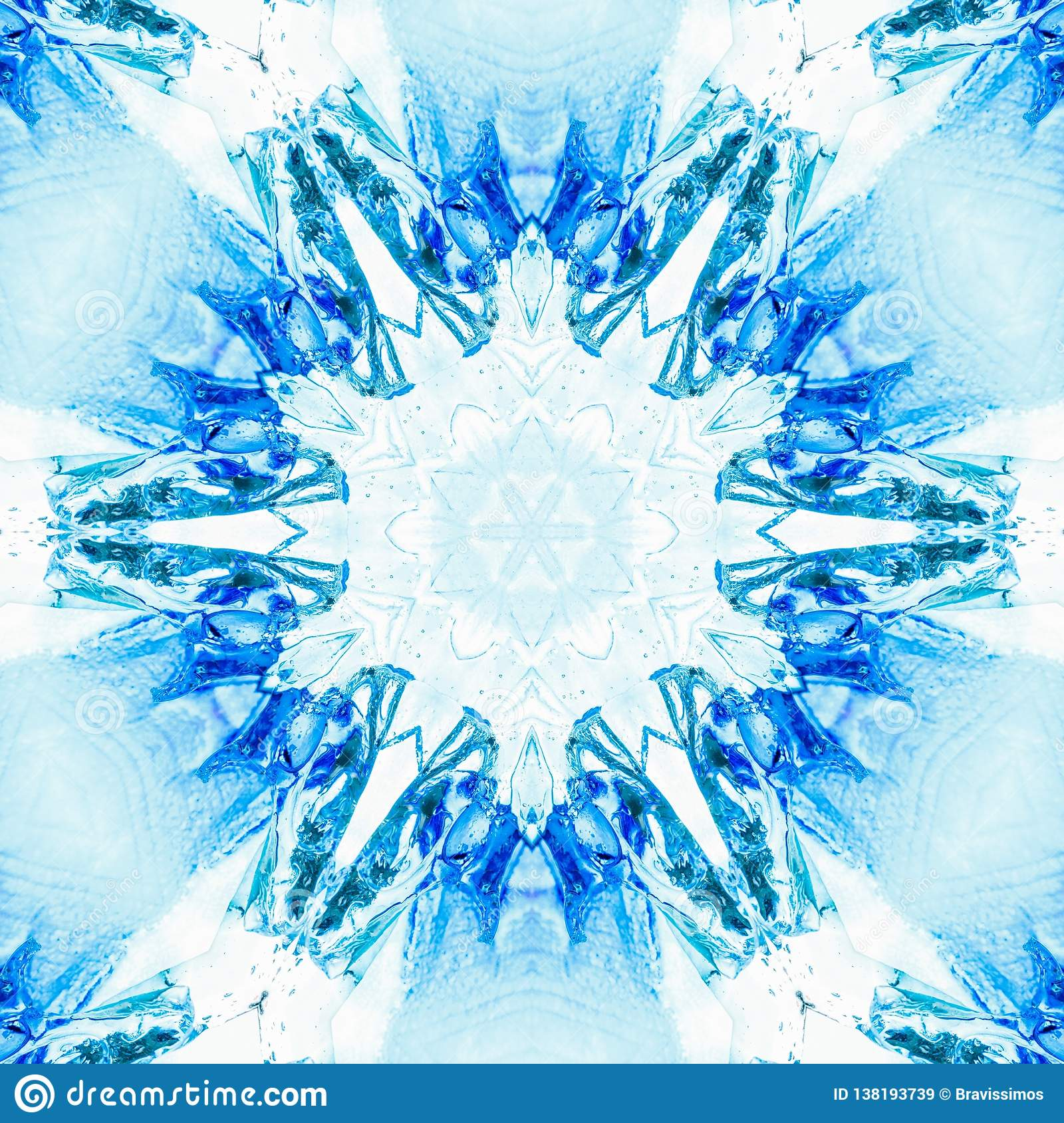 Abstract Blue Ice Pattern Symmetry Wallpaper Illustration