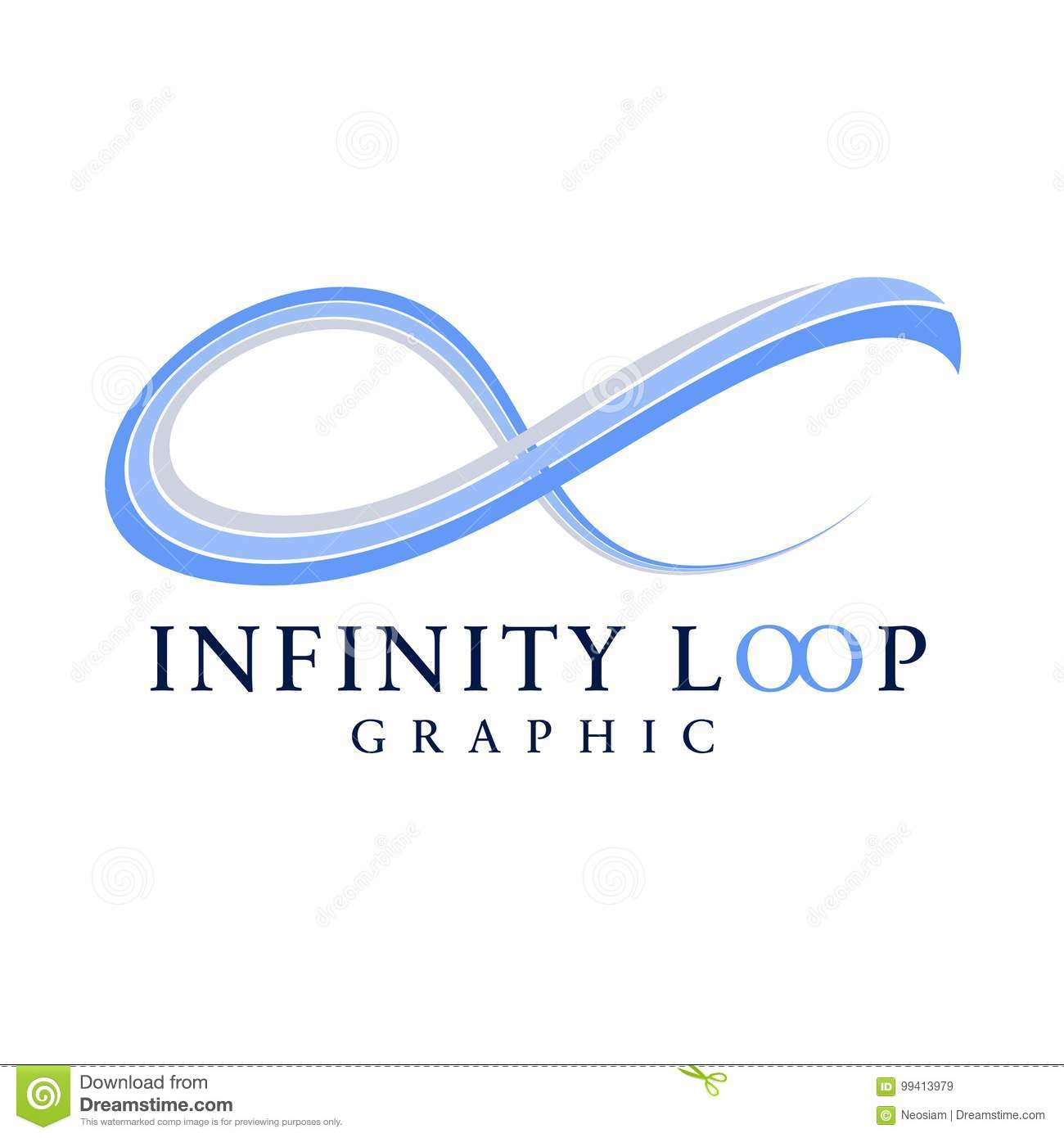 Abstract Blue Infinity Graphic Symbol Stock Vector Illustration Of