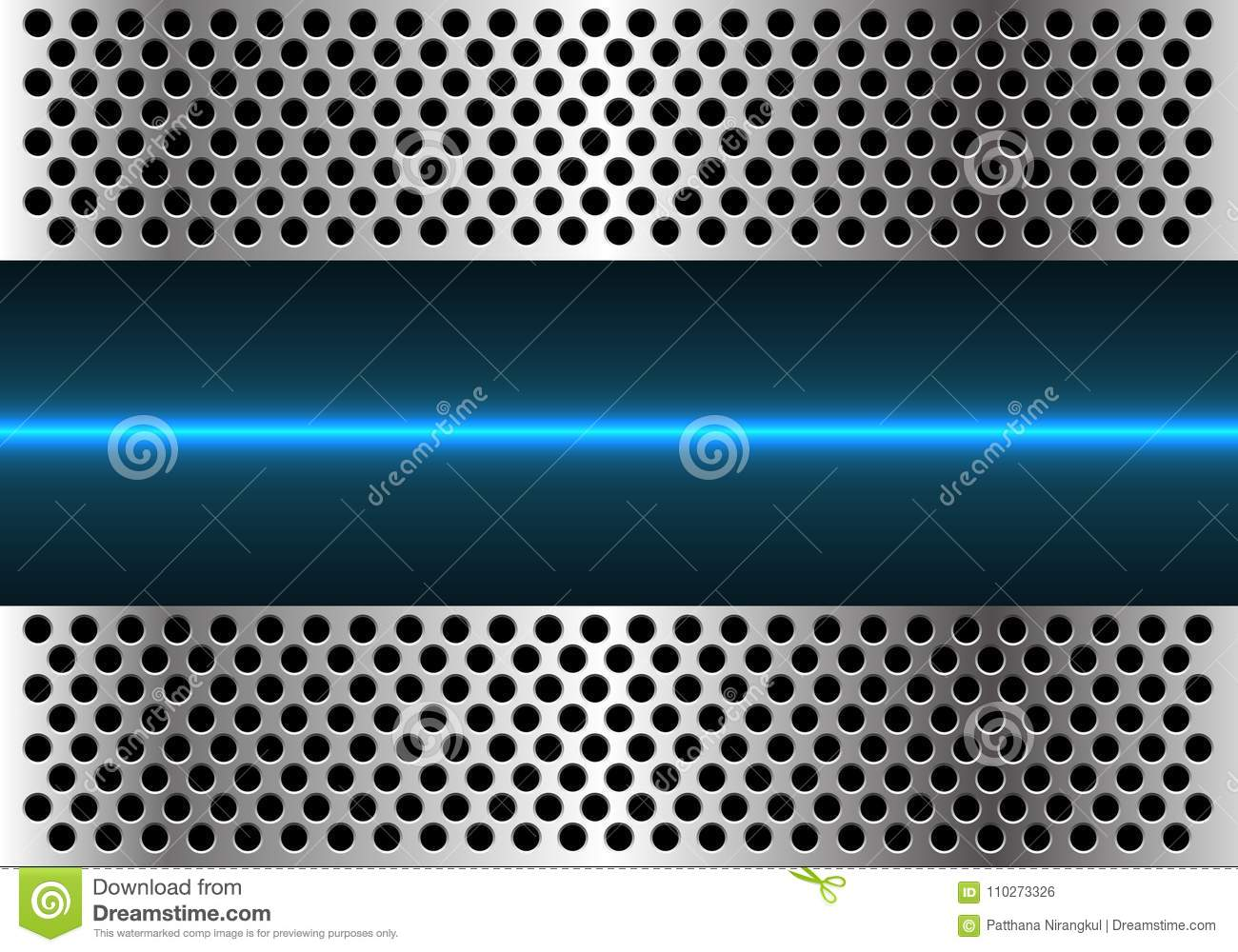 Technology Background With Circular Mesh: Abstract Blue Light Line Technology In Metal Circle Mesh