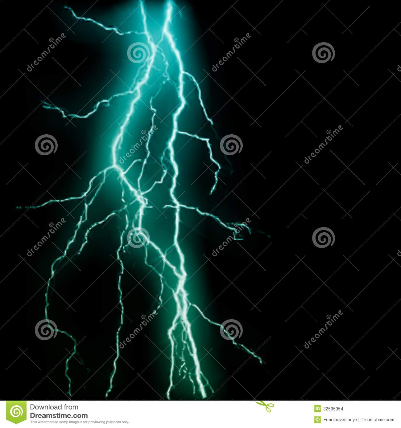 Abstract Blue Lightning Flash Background. Vector Stock