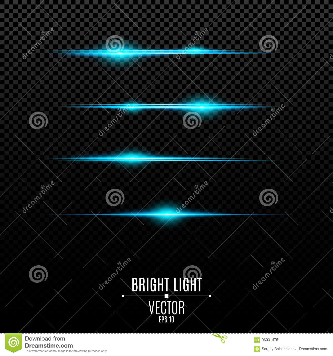 Abstract blue lights on a transparent background. Bright flashes and glare of blue. The effect of the camera. Bright rays of light