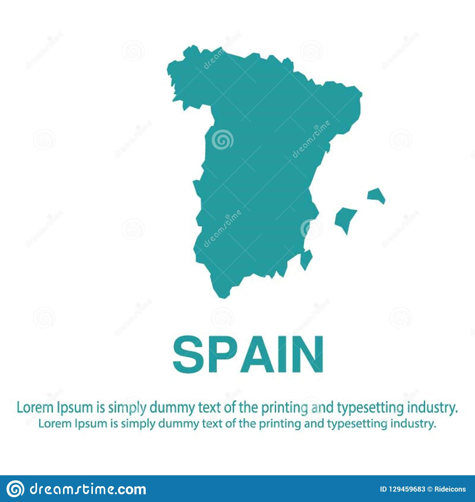 Abstract Blue Map Of Spain With White Background Flat Style.global ...
