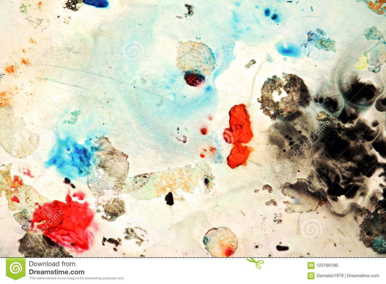 Abstract blue orange black spots, painting watercolor background, painting abstract colors