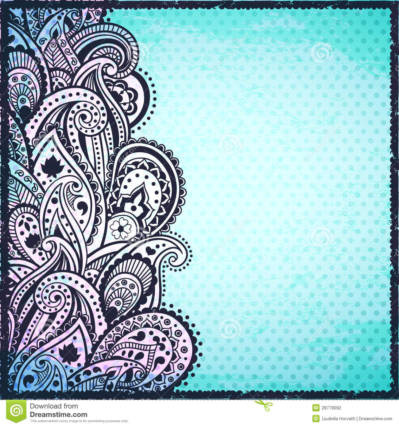abstract blue paisley background stock photography