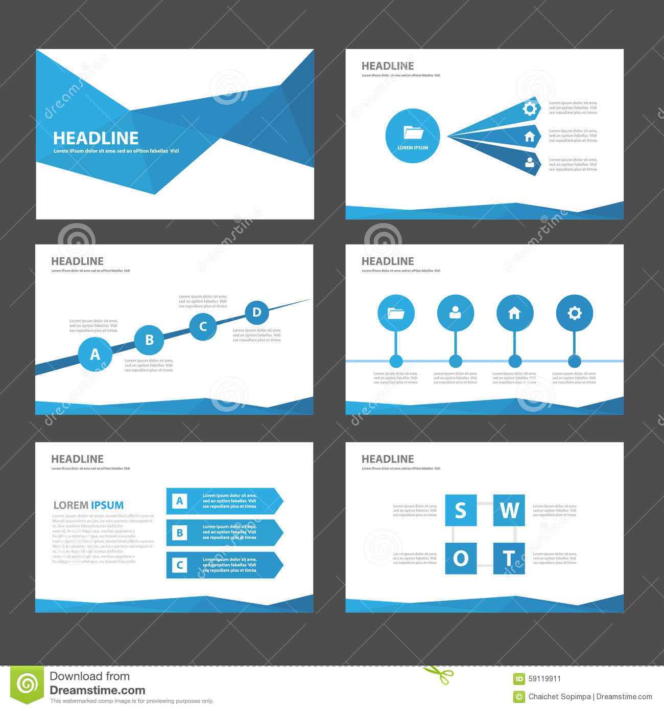 Abstract Blue Polygon Infographic Element And Icon