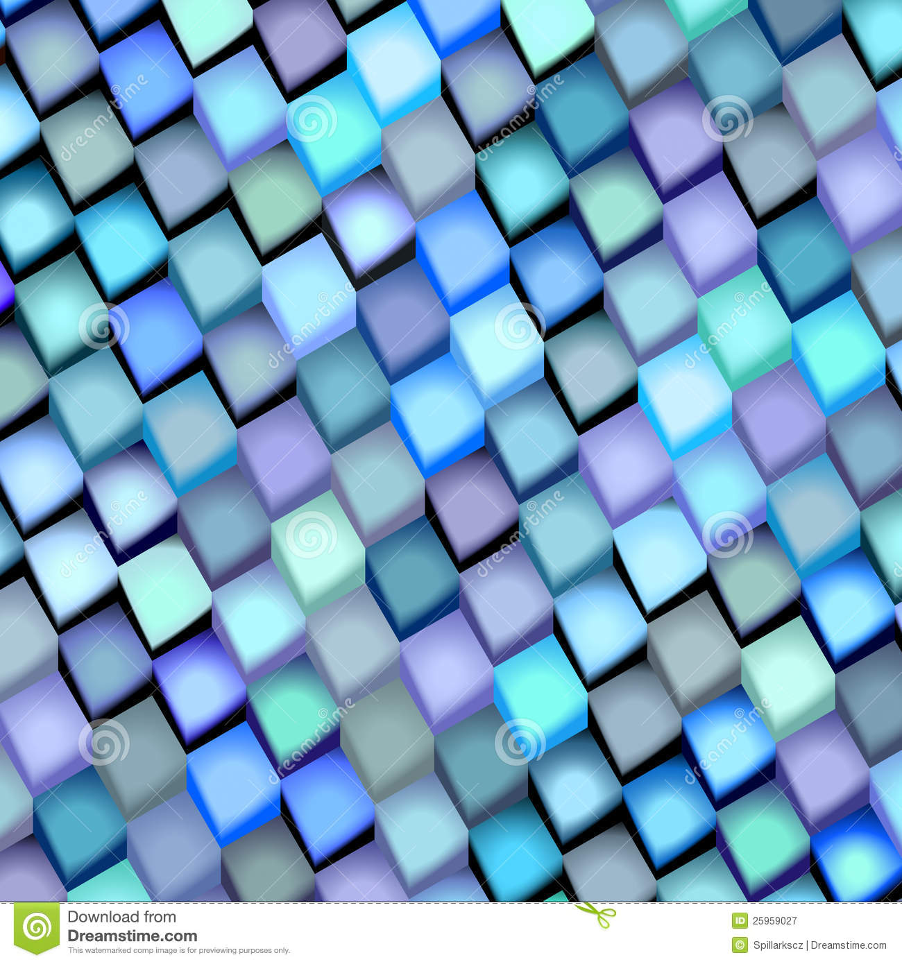 Abstract Blue Purple Cube Pattern Royalty Free Stock