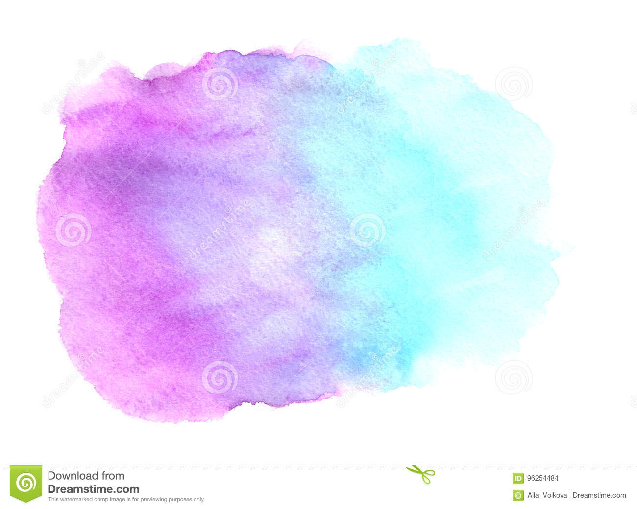 Abstract Blue Purple Watercolor On White Background Stock