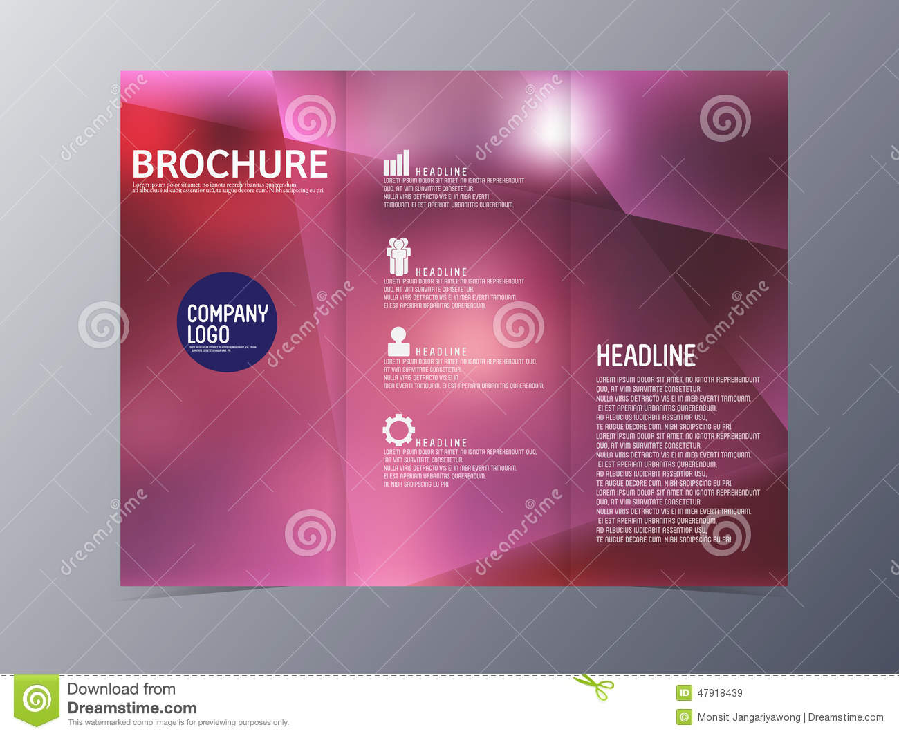 red brochure template - abstract blue red brochure design template vector tri fold