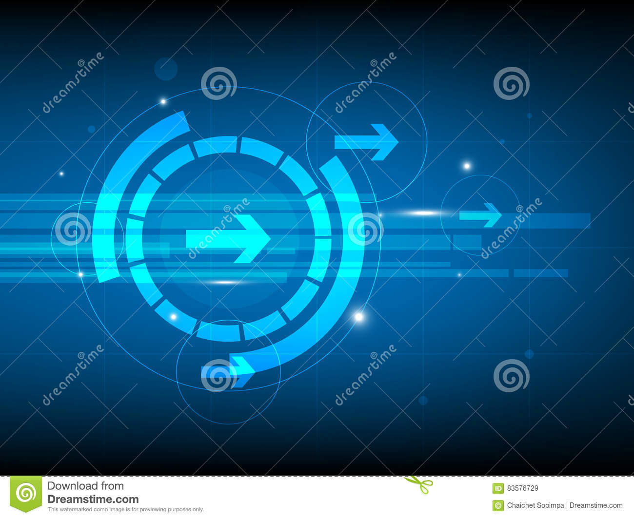 Abstract blue right arrow circle digital technology background, futuristic structure elements concept background