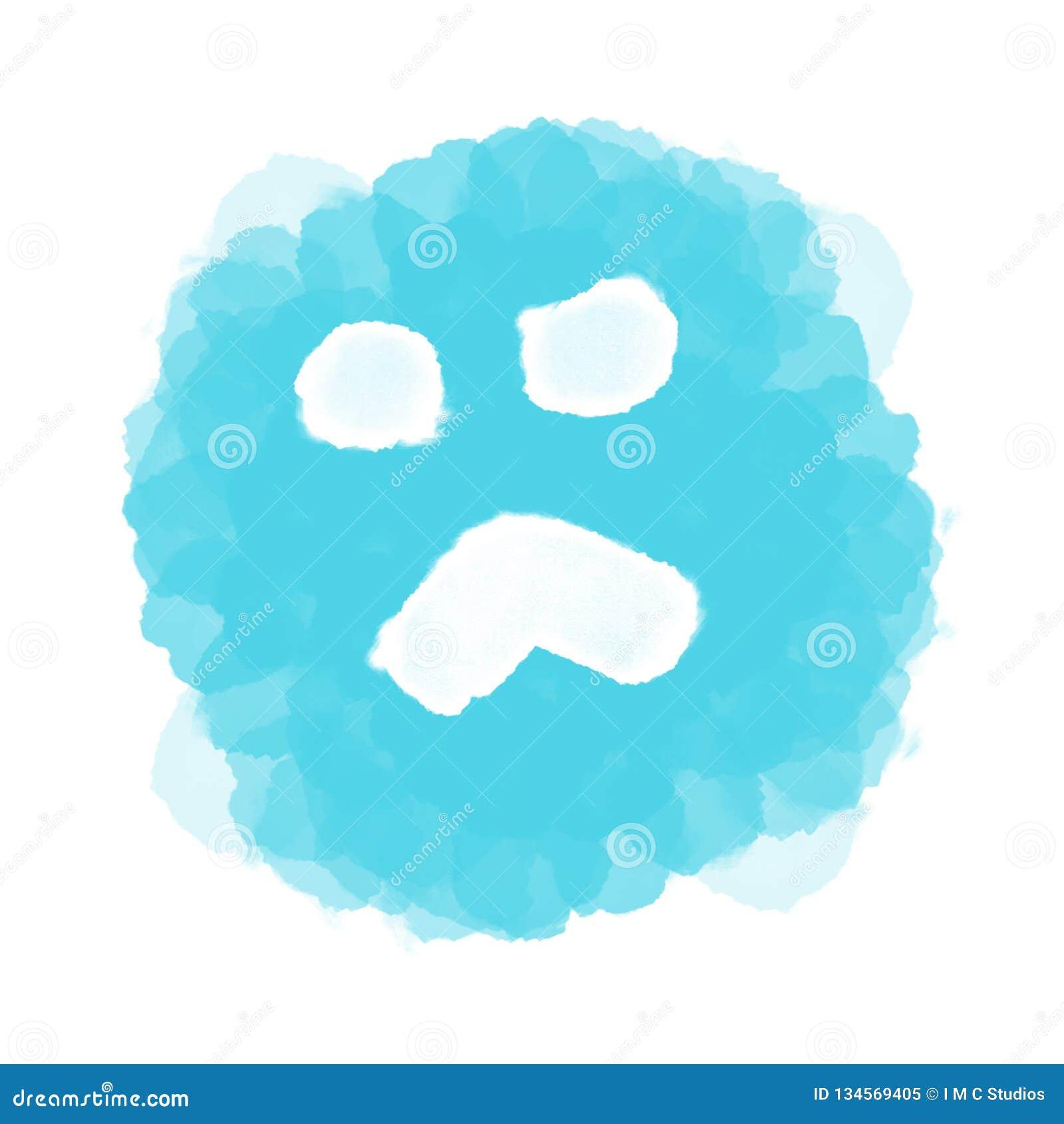Abstract blue sad emoji/emoticon on white