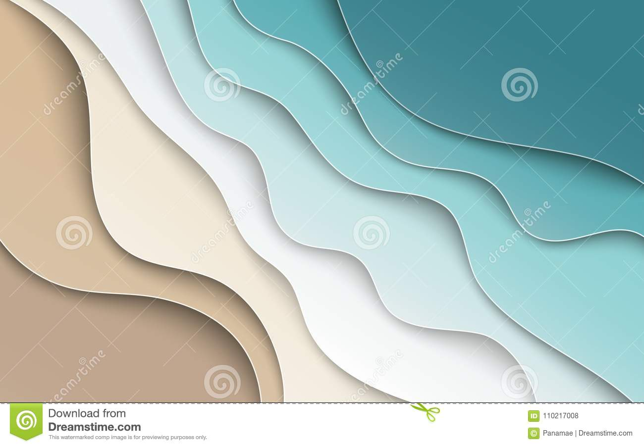 Abstract blue sea and beach summer background with curve paper