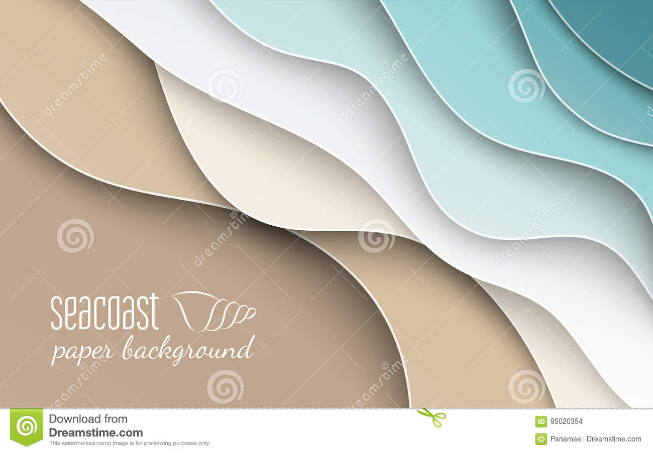 Abstract blue sea and beach summer background with curve paper wave and seacoast for banner, poster or web site design