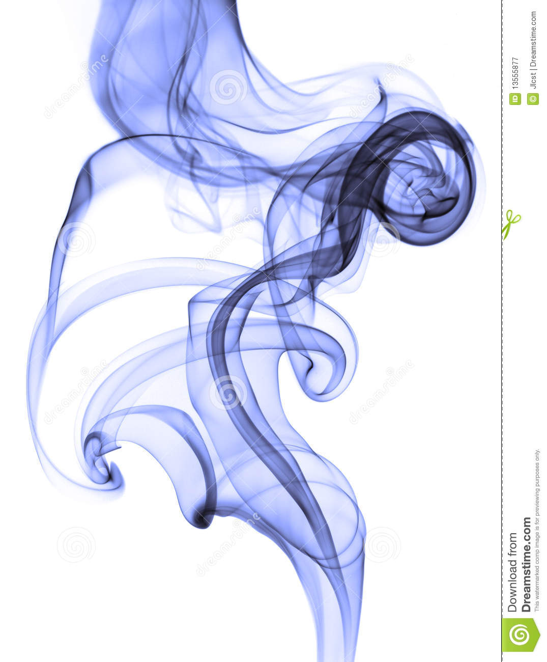 Abstract Blue Smoke On White Background