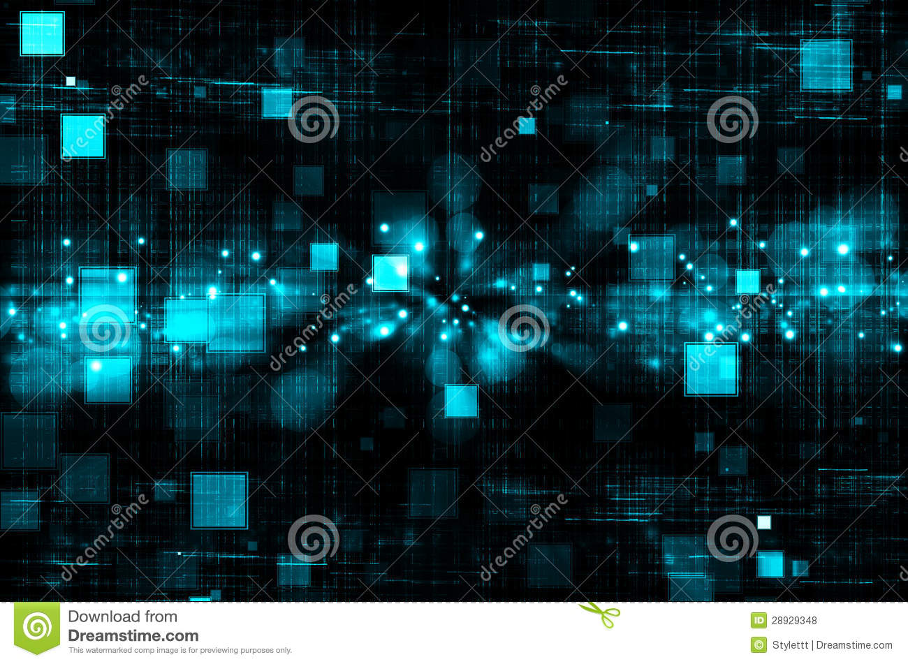 Blue Technology: Abstract Blue Technology In Dark Background Royalty Free