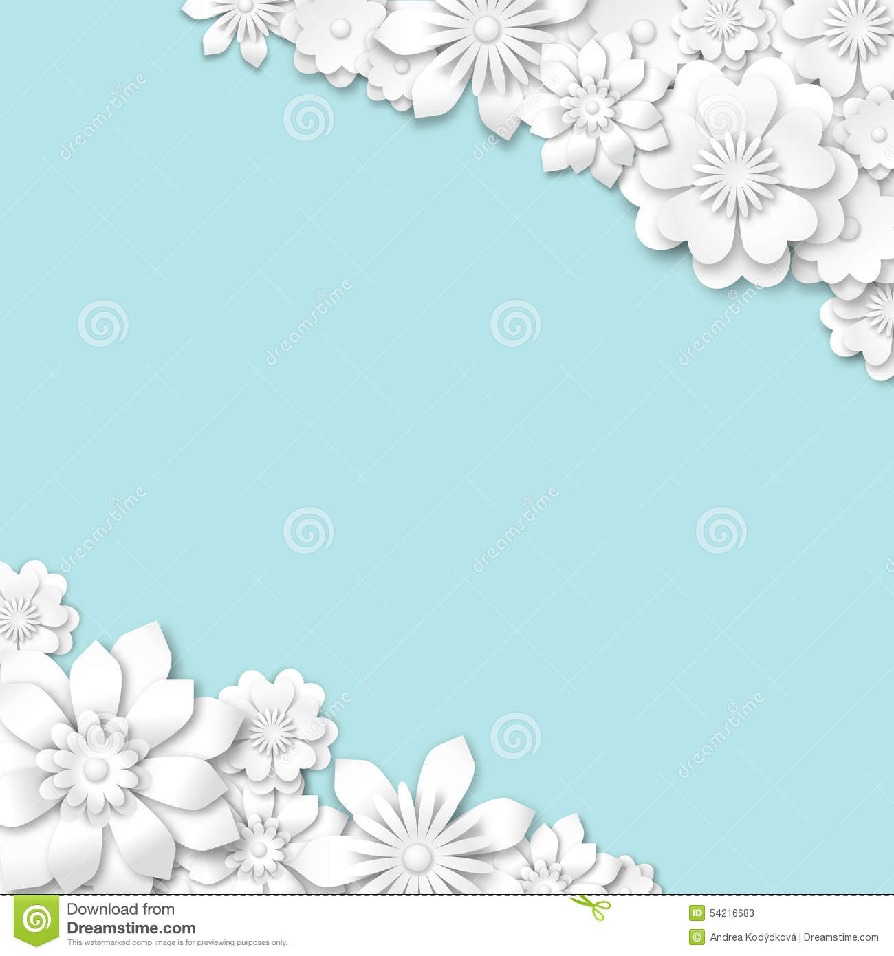 Abstract Blue Wedding Background With White 3d Flowers ...