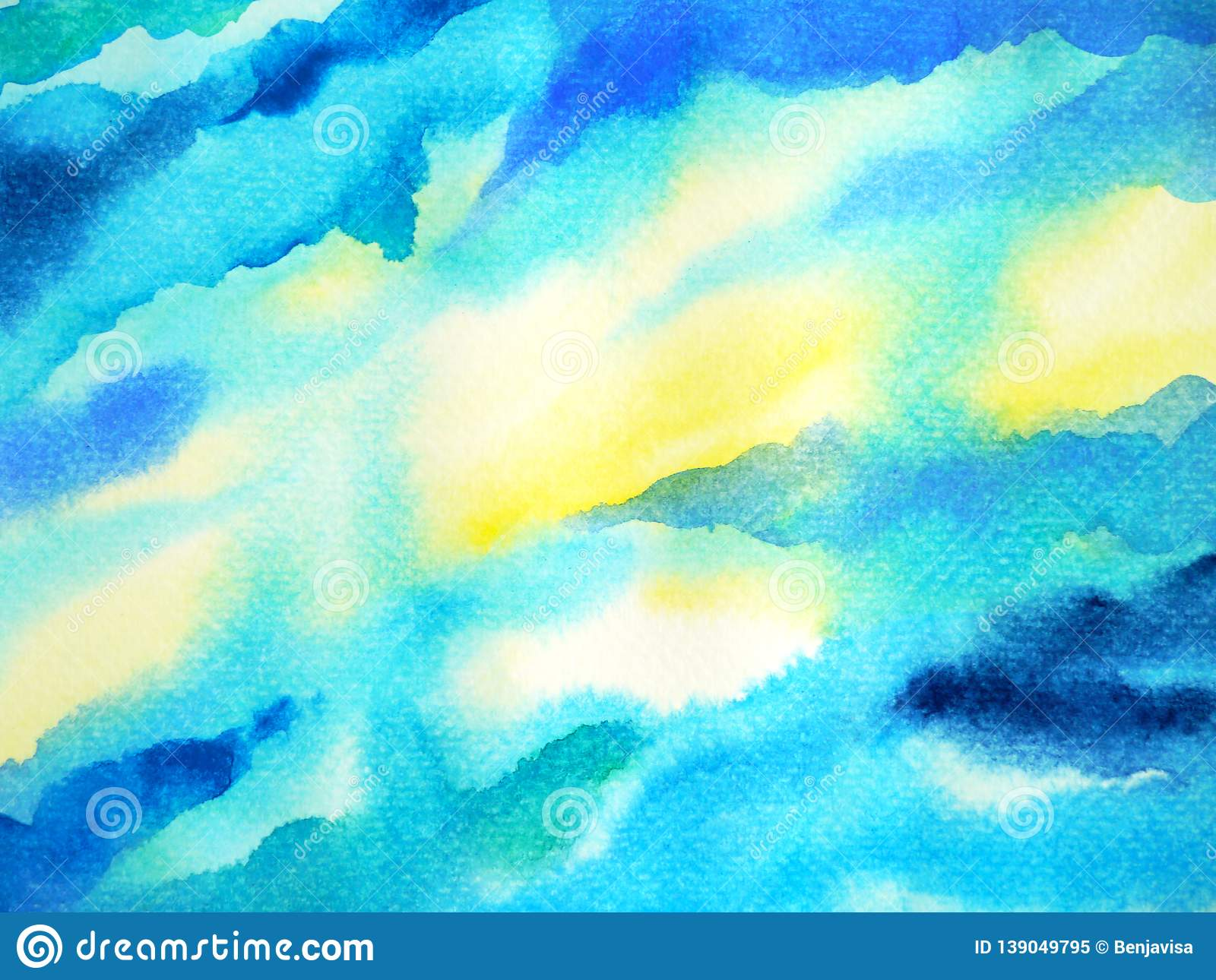 Abstract blue white color sky water sea ocean wave mountain range watercolor painting illustration design