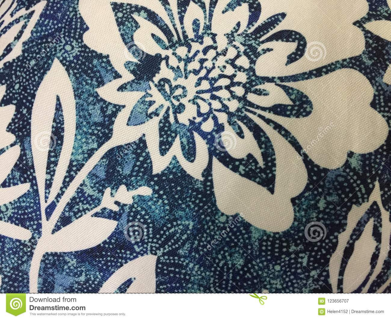 Abstract Blue And White Floral Fabric Design Stock Image Image Of