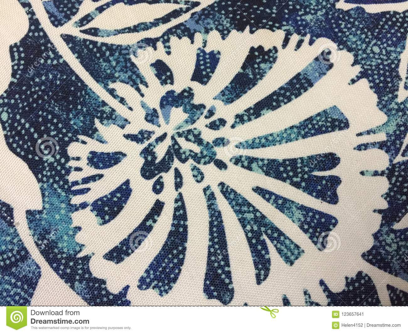 Abstract Blue And White Flowers On Fabric Stock Image Image Of