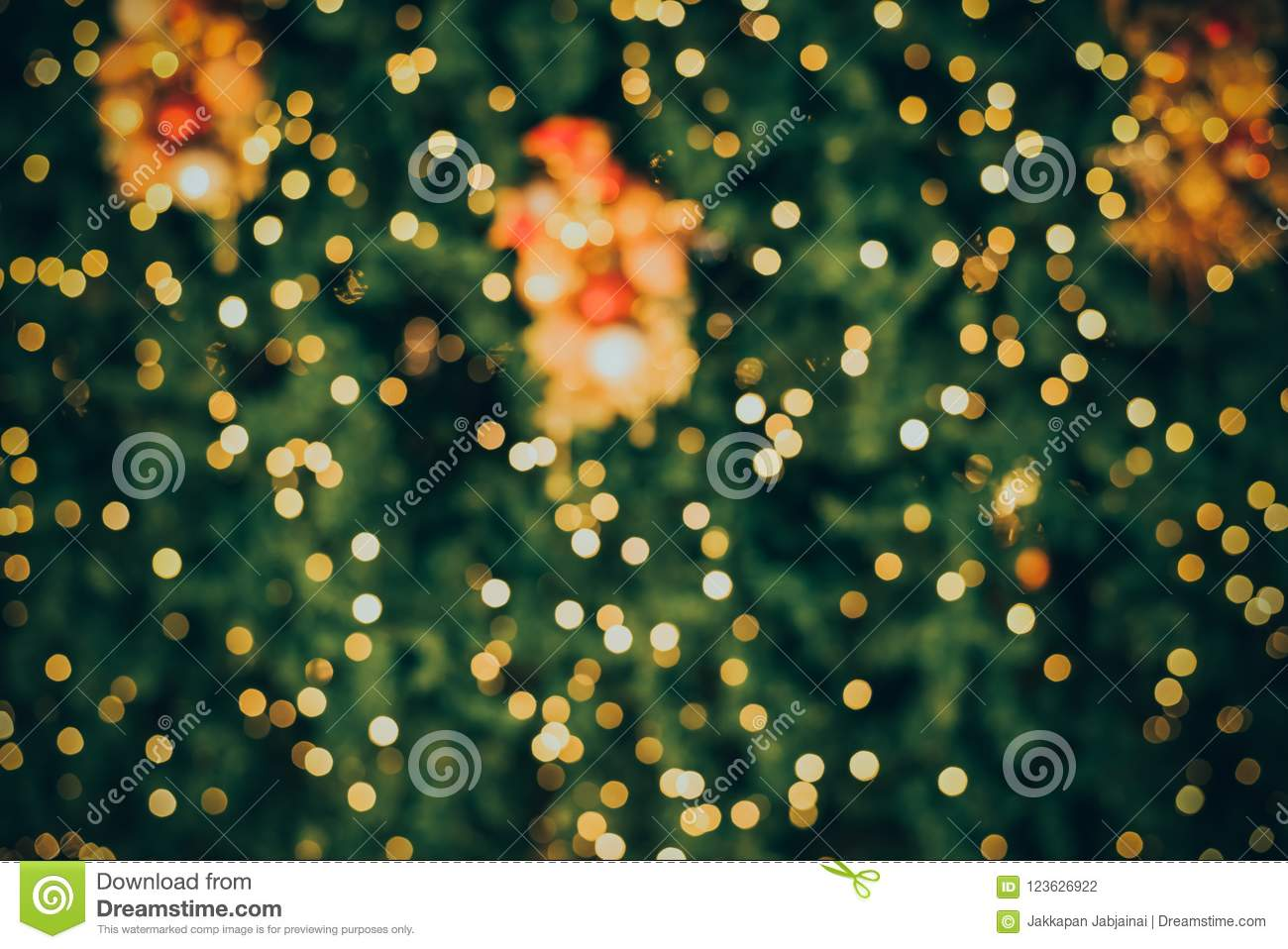Abstract Blur Background Of Vintage Christmas Tree Stock Photo