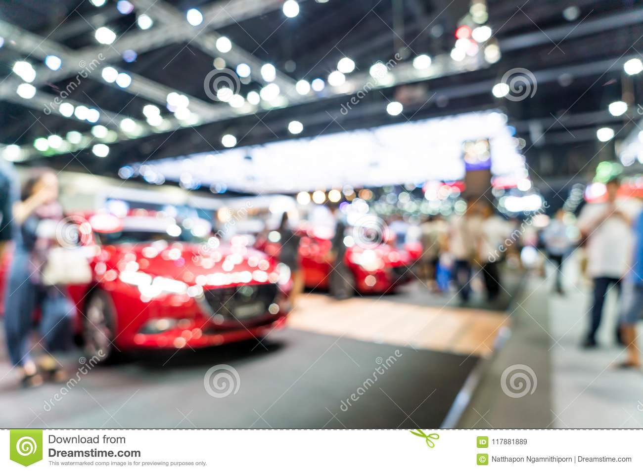 Abstract blur and defocused car and motor exhibition show event