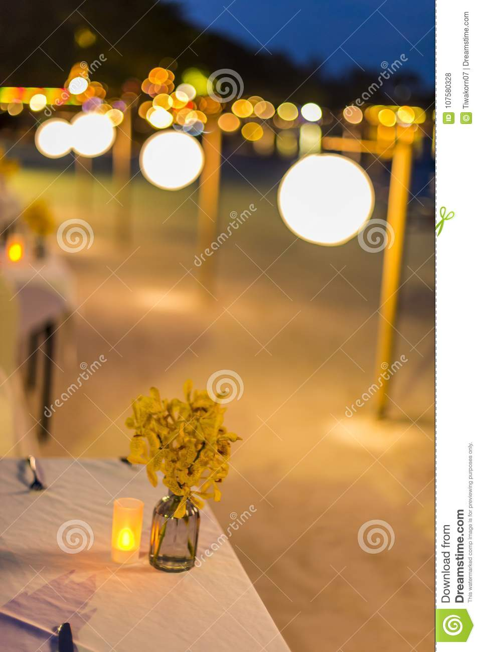 Abstract Blur Image Of Outdoor Cafe Or Restaurant In Night Time With Bokeh For Background Usage Stock Photo Image Of Bokeh Cuisine 107580328