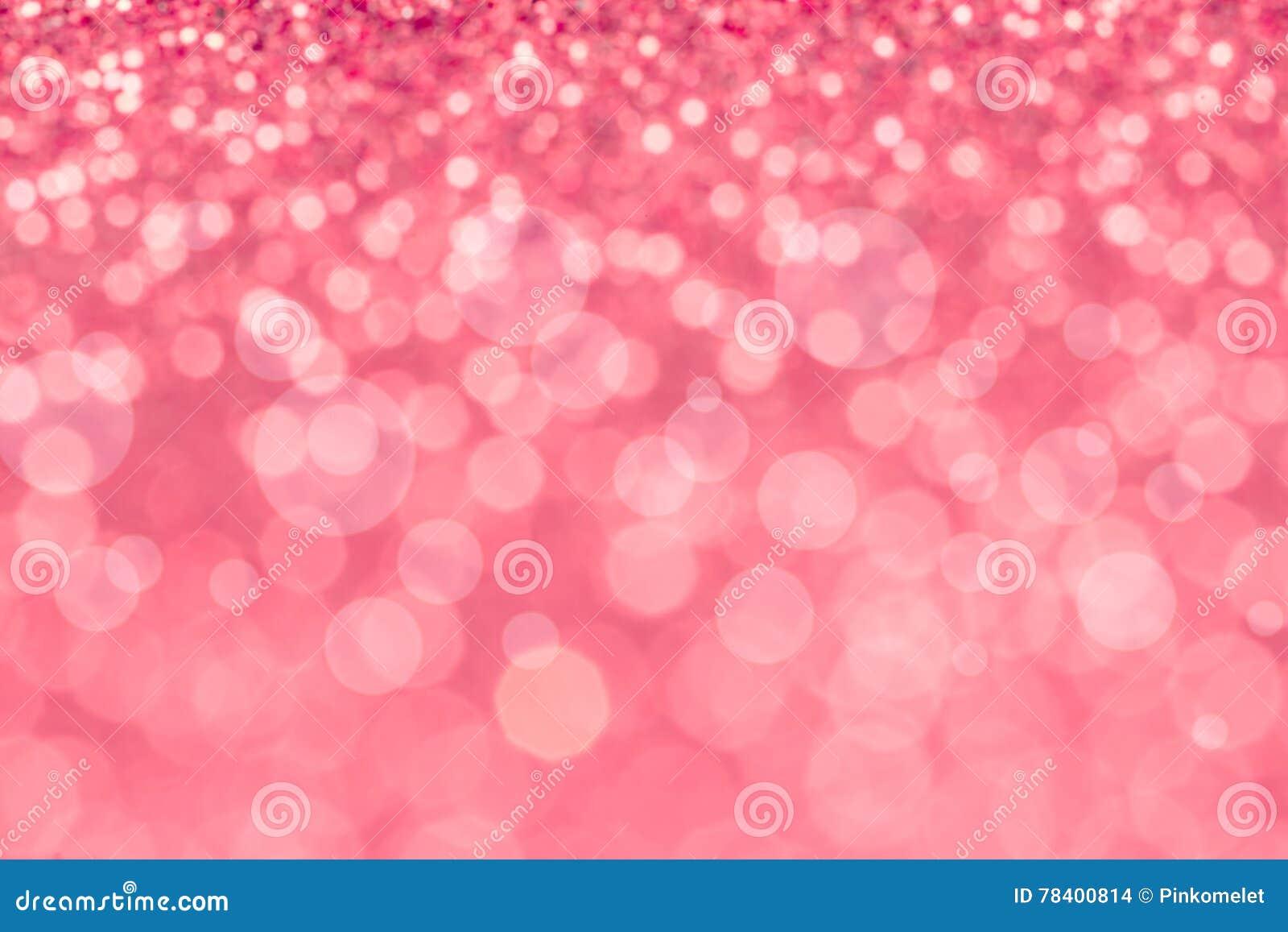 Abstract blur sweet pink bokeh lighting from glitter texture