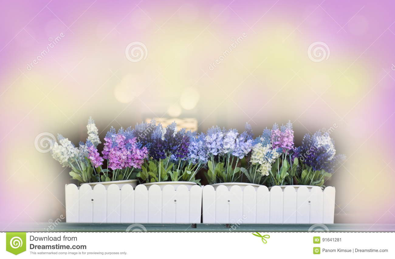Abstract blurred beautiful lavender flower in vase soft color for background with blank space