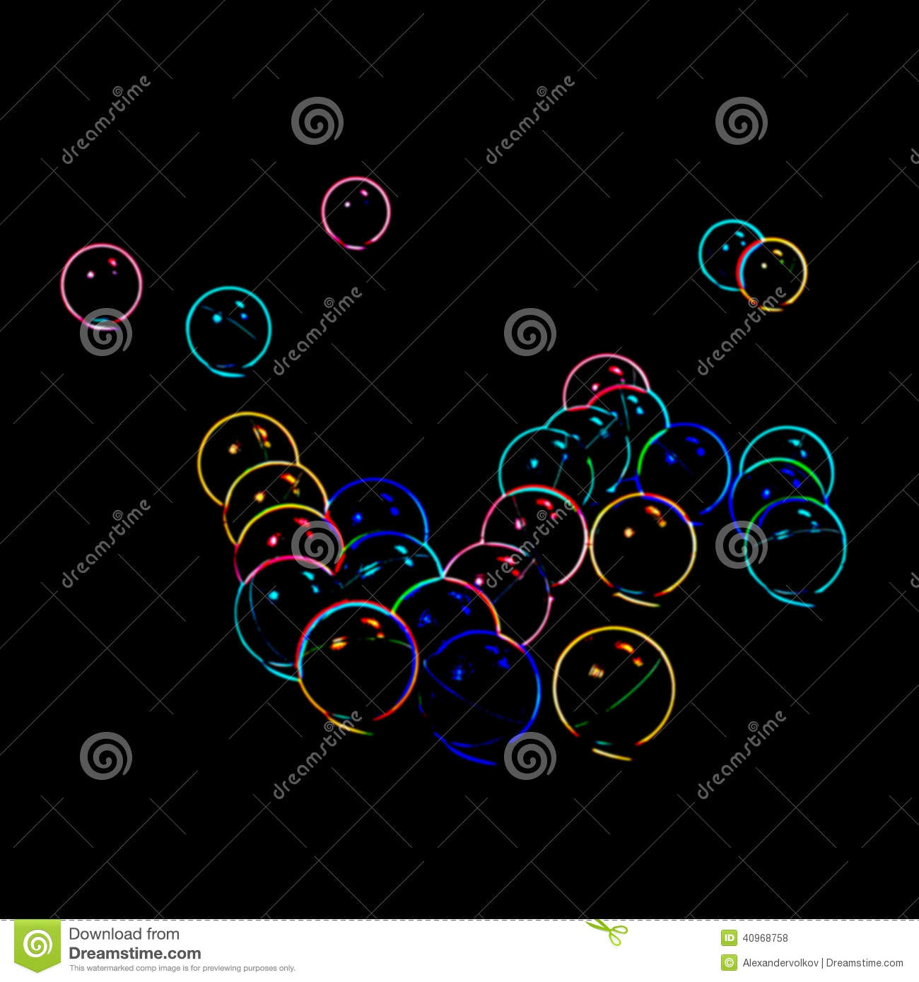 abstract blurred neon bubbles stock photo