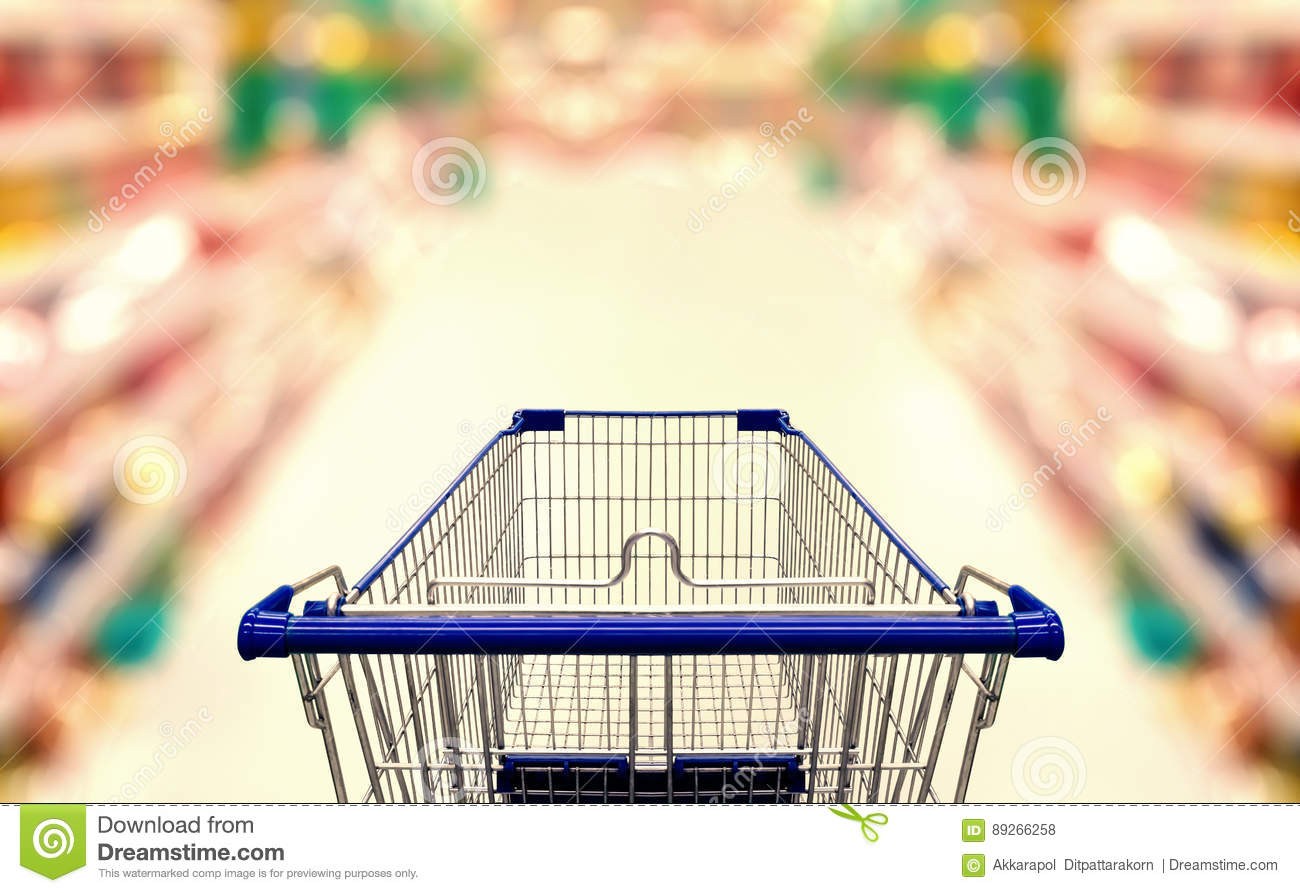 Abstract blurred photo of supermarket with empty shopping cart
