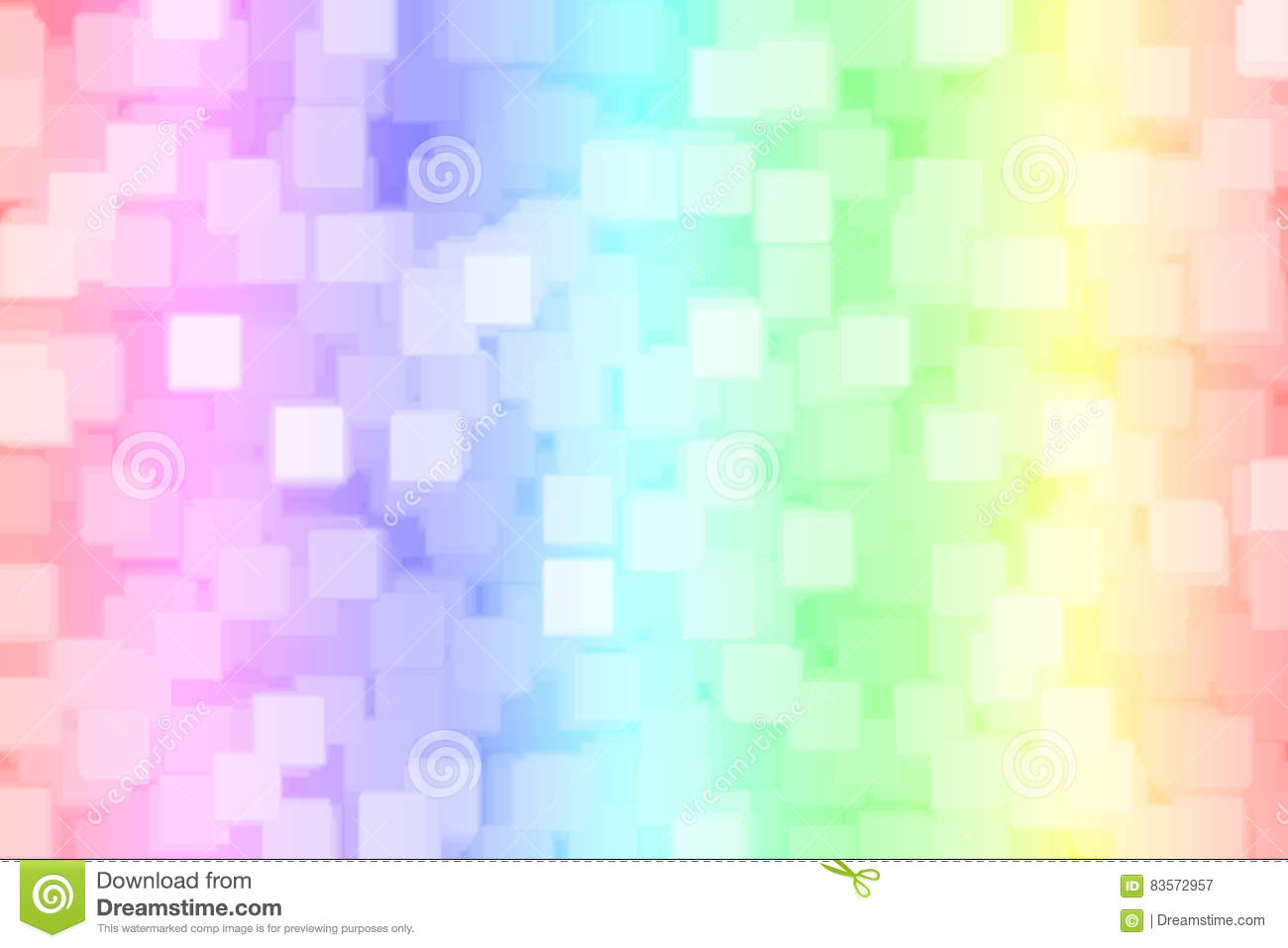Abstract blurred rainbow square bokeh background .
