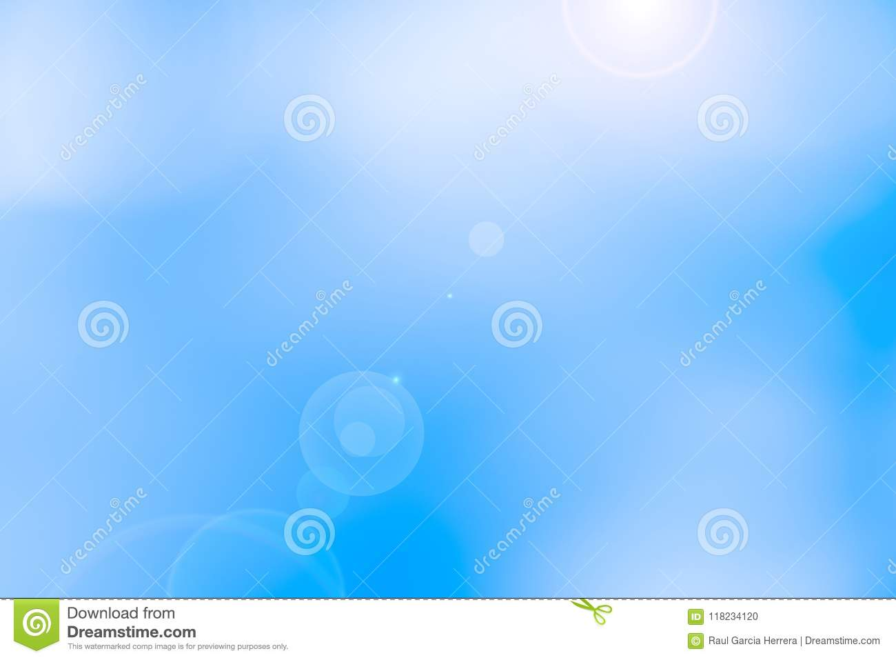 Abstract blurred sun light sky background