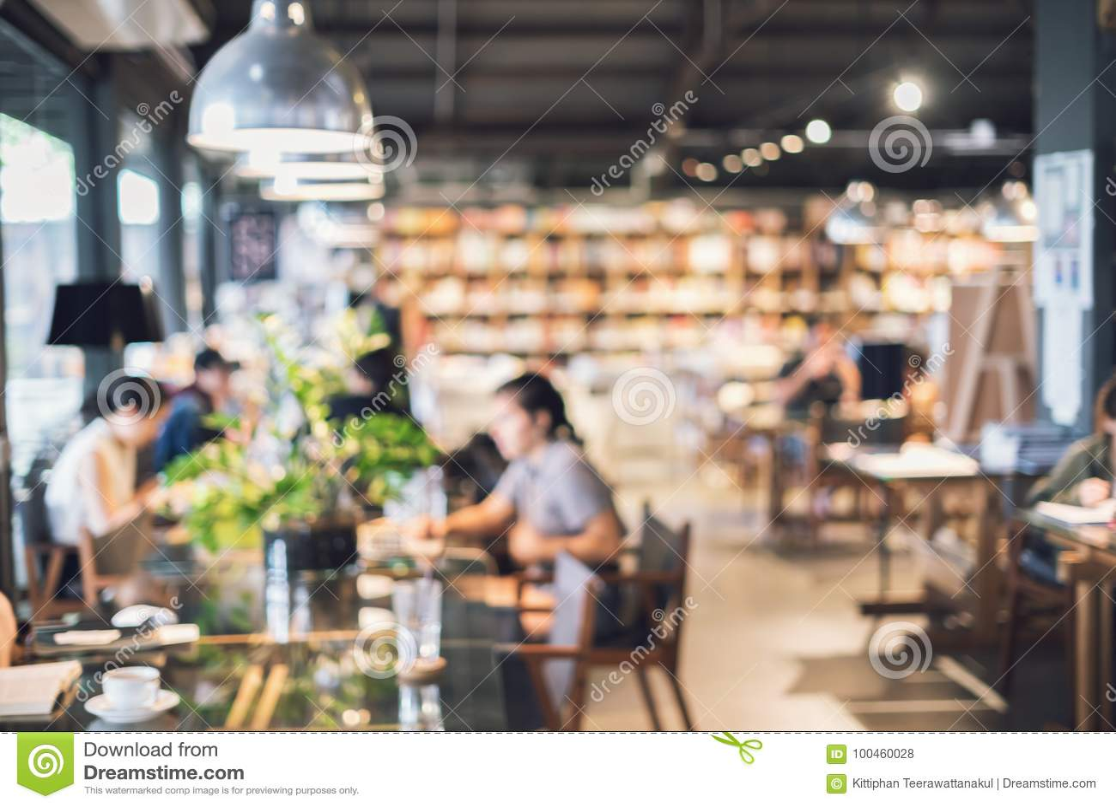 Abstract blurry defocused image of restaurant interior, Vintage