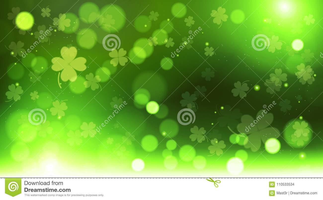 Abstract Bokeh Blur Template Clovers Background, Green Happy Saint