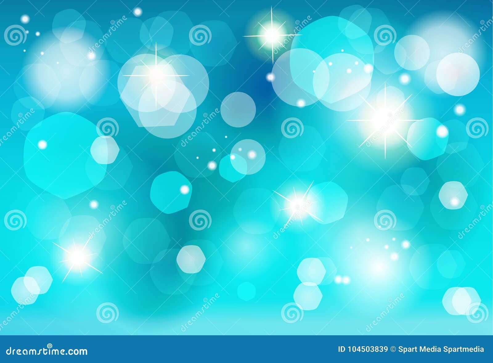 Christmas Blue Bokeh Lights Effect Wallpaper Stock Vector
