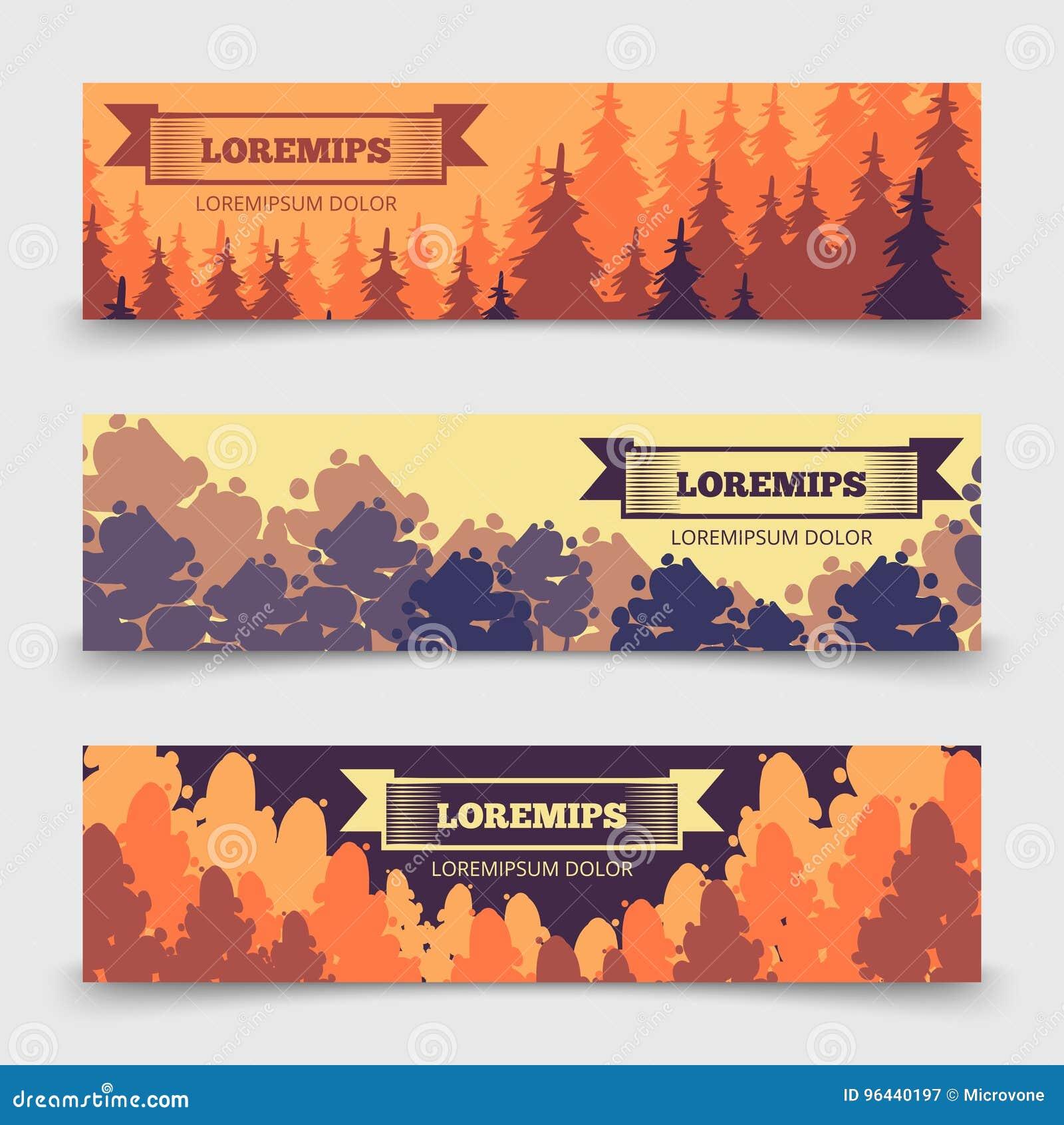 Abstract bos horizontaal bannersmalplaatje - banners met bomenontwerp