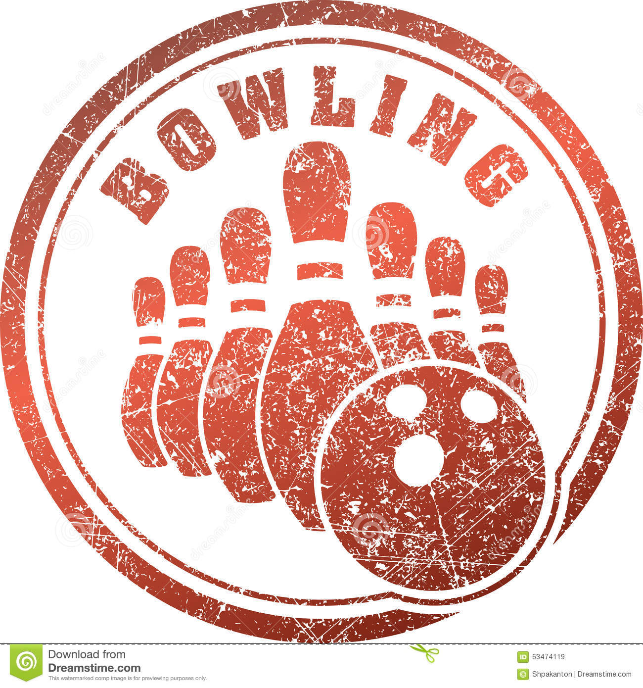 Abstract Bowling Rubber Stamp Grunge Design In Red Tones ...