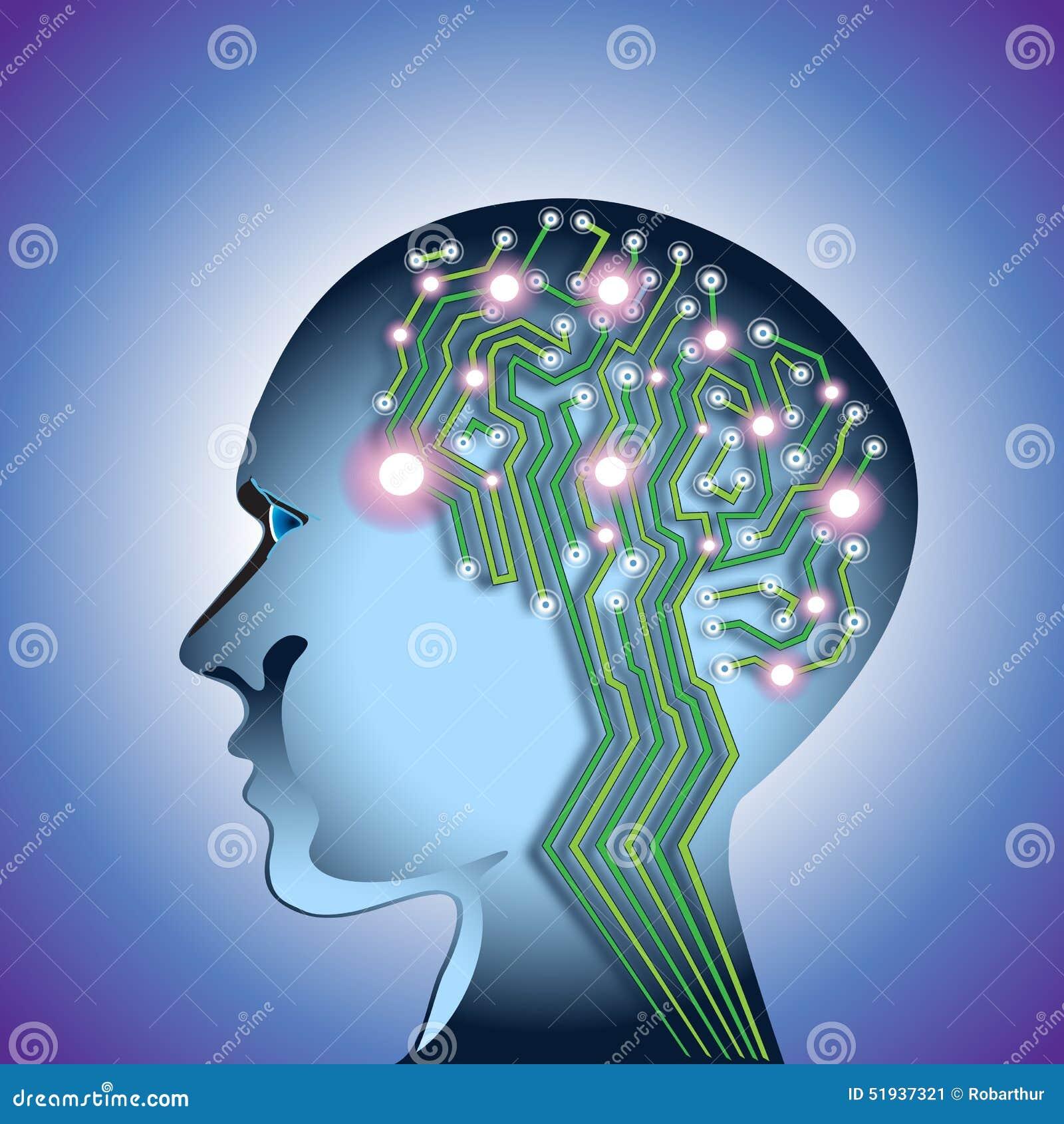 Circuit Brain Reusable : Abstract brain circuit stock vector image