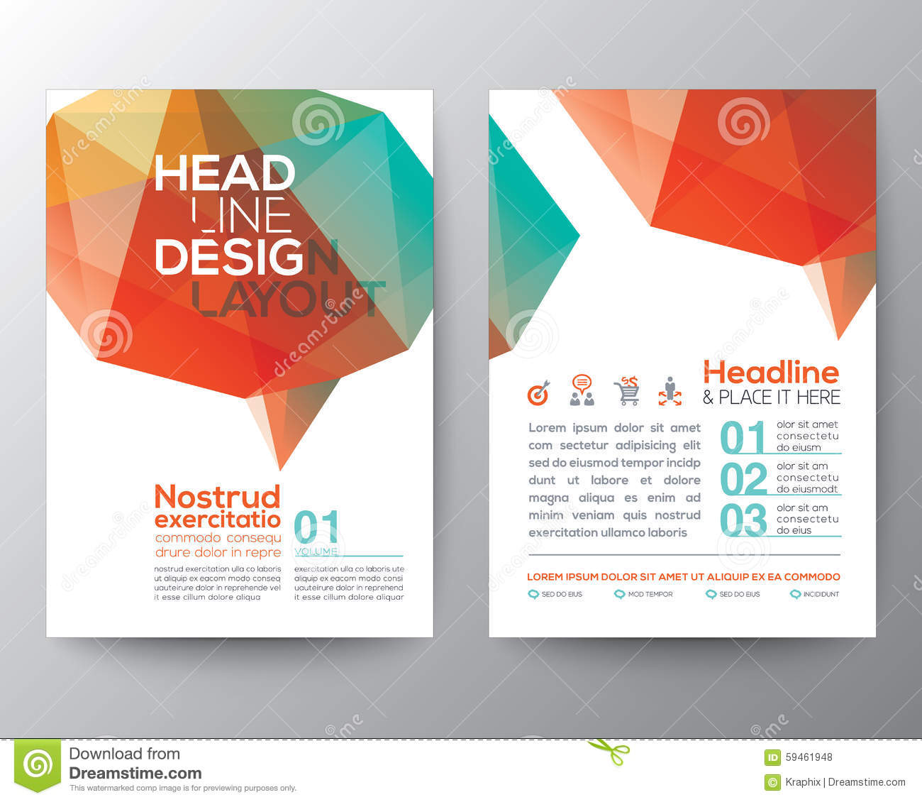 Abstract brain shape low polygon graphic design layout for Graphic design brochure