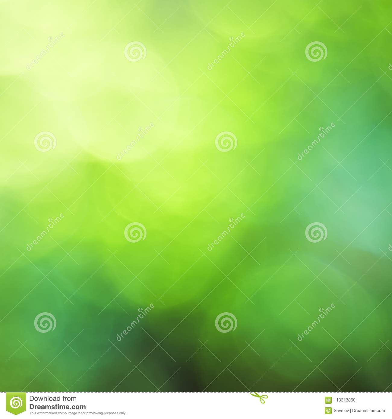 Abstract bright background of a bokeh of different shades of green, photo, square