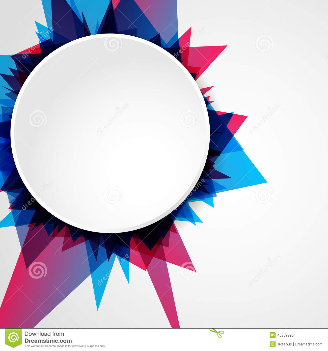 abstract bright blue and pink geometric shape with blank circle