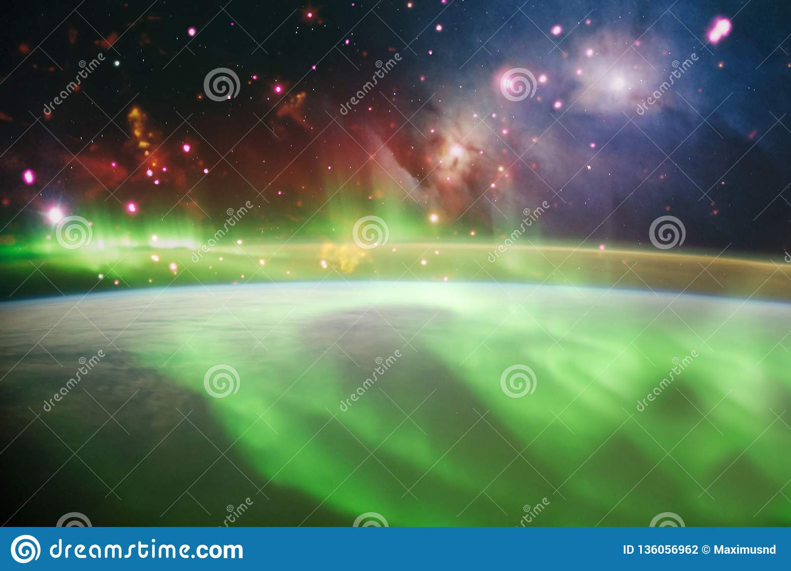Abstract Bright Colorful Universe Nebula Night Starry Sky In