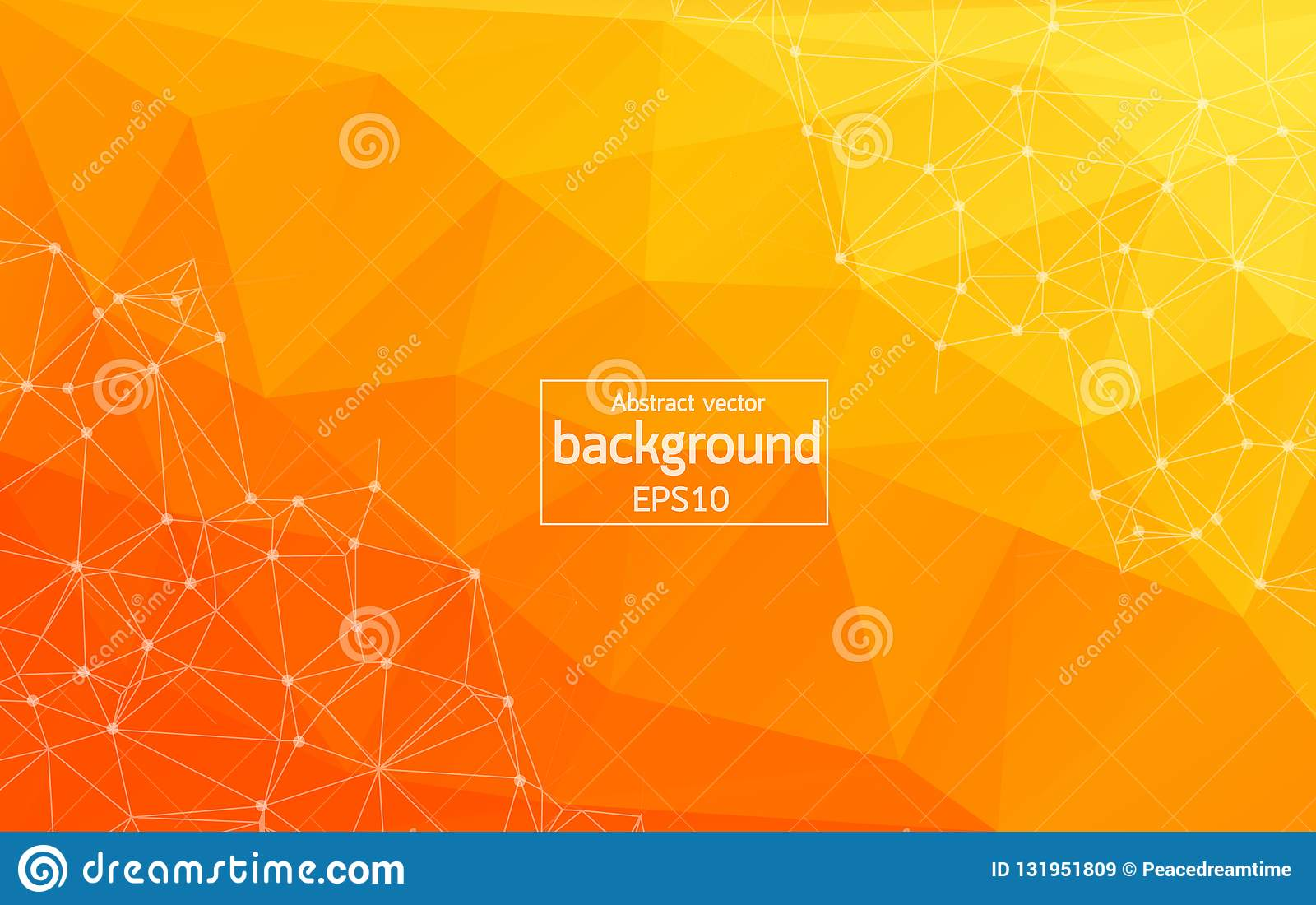 Abstract Bright Orange Technology Background -Connected lines with dots. Geometric light Polygonal background molecule and communi